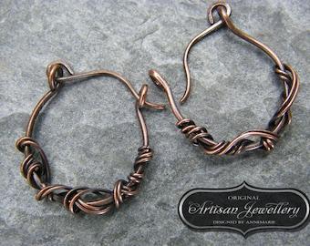 Small hoop earrings ~ Hoop earrings ~ Copper earrings ~ 1 inch hoops ~ Copper jewelry ~ Gift for her ~ 7th anniversary ~ Copper ~ Earrings ~
