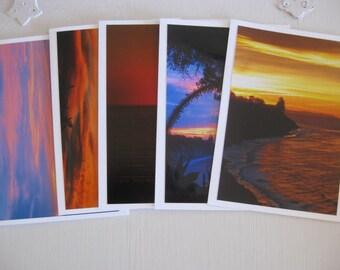 Cards ~   California  Sunset  Ocean  Handmade  Cards  w/envelopes   set/5   (#N41)