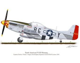 P-51D Mustang Vintage Aircraft 1944  Chuck Yaeger Profile Artwork, A5 / A4 Glossy Print of Second World US war airplane