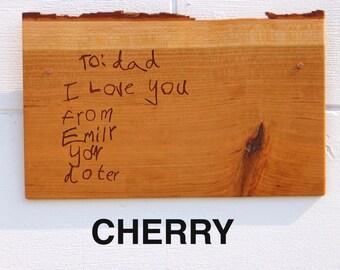 Any Handwriting Engraved into Live Edge Wood Plaque | Commemorative | Keepsake |