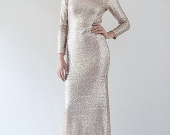 Long Sleeved Sequin Gown