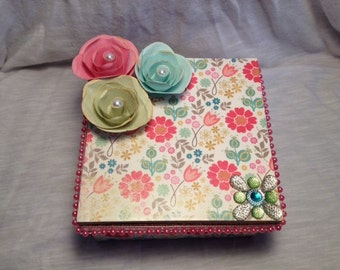 Hand Decorated Gift Box-Bright Floral- 5 in.