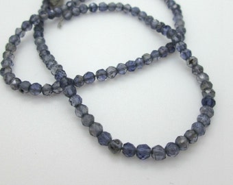 Blue Iolite Faceted Rondelle Beads, 3mm