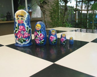 Vintage Russian Nesting Dolls Set of Five