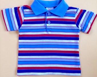 Vintage Health-Tex Boys Red, White, Blue Striped Shirt. Retro Health-Tex Striped Polo Shirt. Size 2T
