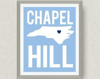 North Carolina Art Print in UNC Colors