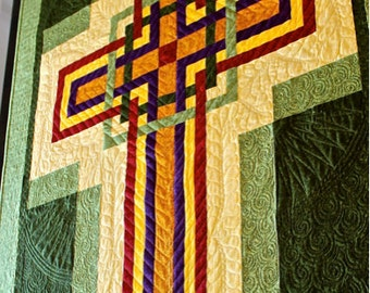 "Cross Quilt Pattern - Carpenters Corner Cross - Celtic Cross - Wall Hanging: 42"" x 56"""