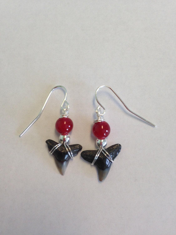 sharks tooth dangle earrings megalodon silver earrings