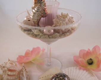 Coastal Shell Centerpiece. Coastal Candleholder, Pink Beach Centerpiece, Seahorse centerpiece