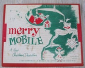 Vintage 1950's Merry Mobile Retro Christmas in Box Deer Santa Angel