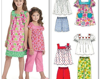 McCall's Pattern M6022 Children's/Girls' Tops, Dresses, Shorts And Pants