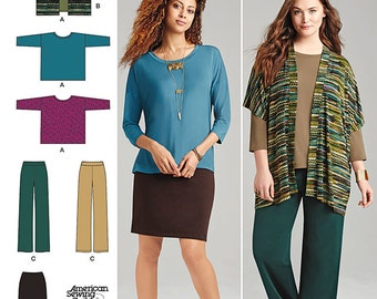 Simplicity Pattern 1071 Misses' Knit Skirt, Pants and Loose Fitting Top and Vest