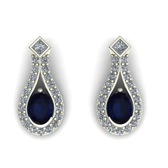 Blue Sapphire Earrings Oval Bezel Set by CharlesBabbDesigns