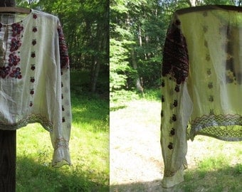 Vintage 1960s Hand-Knit Sheer Hippie Blouse