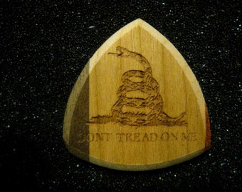 Wooden Guitar Pick Don't Tread On Me  Gadsden Flag DTOM