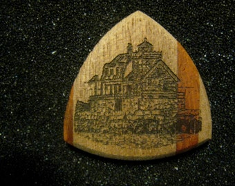 Wooden Guitar Pick Rockland Breakwater Lighthouse Maine