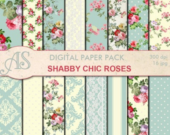 Digital Shabby Chic Pink Roses Paper Pack, 16 printable Digital Scrapbooking papers, retro roses Digital Collage, Instant Download, set 212