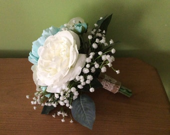White roses and Aqua Peony with Baby's Breath Bridal Bouquet