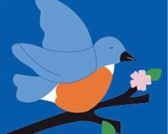 Bluebird Handcrafted Applique Garden Flag