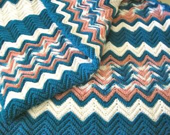 "Beautiful 1970's Afghan - Teal, Creamy White & Pinks - Zig Zag Stripe - Crochet Grannie Blanket .... 60""  x  32"""