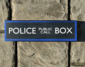 police box, doctor who, tardis, hand painted, wood sign