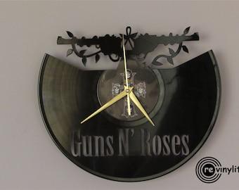 Guns N Roses clock, Wall clock, vinyl record wall clock, vinyl wall  clock,vinyl record clock, vinyl clock, mancave decor