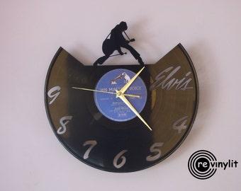 Elvis Presley, Elvis, Elvis art, Wall clock, vinyl record clock, vinyl wall clock, vinyl record clock, vinyl clock, mancave decor