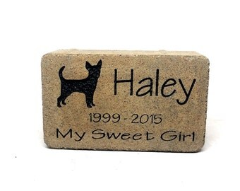 Pet Stone Memorial Grave Marker / Headstone Add your own beloved pets name, dates, and specicific animal breed silouettes