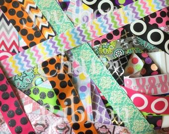 1.5 inch ribbon grab bag, US designer prints, ribbon by the yard, glitter ribbon, chevron print ribbon, polka dot grab bag, cheer bow ribbon