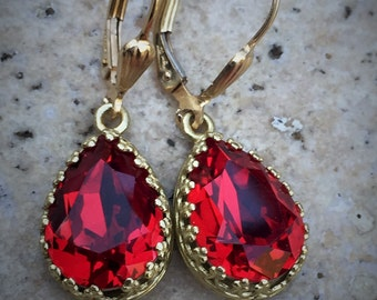 Siam Red Swarovski Crystal Earrings,  Red 14x10 Pear Shaped Crystal in Gold Crown Bezel Setting, Gold Filled Lever Back Earrings