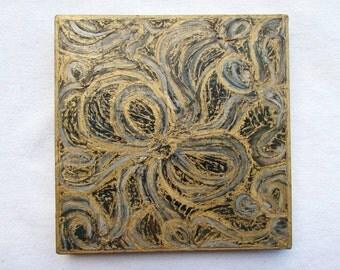 Modern--Abstract--Original Art on Wood Block--Gold,Black,Gray--Textured Art Wall Decor--Gift for Home.