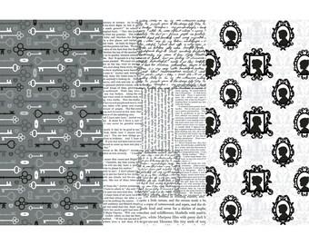 "Decoart-Vintage Silhouette-Mixed Media Art-Collage-Decoupage Paper-3 Sheets 12"" x 16"""