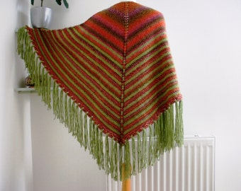 Festival shawl, colourful shawl, womens wrap, triangular wrap, shawl with fringe, shades of green orange, ooak hand knitted, hippy style.