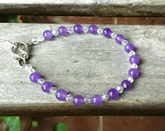 Purple Amethyst Bracelet, Swarovski Crystal Accents, Genuine Amethyst Jewelry,  Gemstone Jewelry