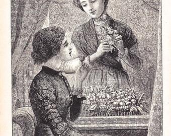 "Antique Print - ""The Flower Girl"" - 1888 - Victorian Fashion, Costume, Victorian Lady - Home Decor Print to Frame, Ephemera, Ladies"