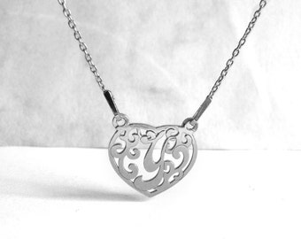 Filigree Necklace, 925 Silver Letter Y Necklace, Heart Initial Necklace, Silver Jewelry, Wedding Accessories, Bridesmaid, Birthday Gift Idea