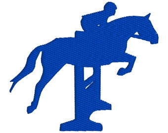 BUY 2, GET 1 FREE - English Style Equestrian Horse Jumping Over Gate Silhouette Machine Embroidery Design in 3 Sizes - 4x4, 5x7, 6x10