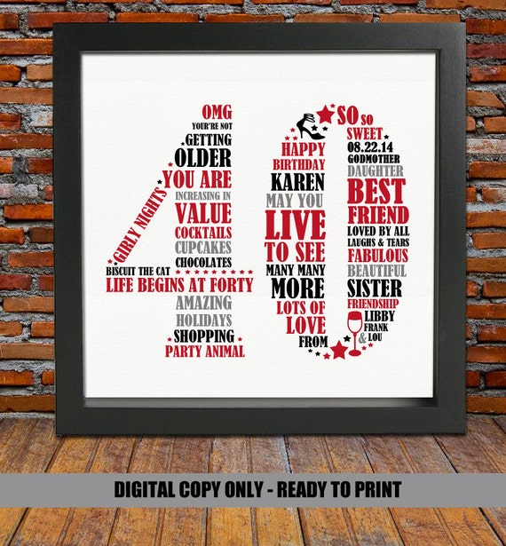 Funny 40th Birthday Gifts Presents For: Personalized 40th Birthday Gift 40th Birthday 40th Birthday