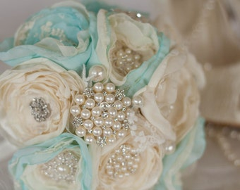 Vintage Inspired Brooch Wedding Bouquet, Mint and Ivory, Satin, chiffon and Lace Bouquet