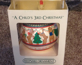Vintage 1984 A Child's 3rd Christmas Hallmark Glass Ornament in BOX