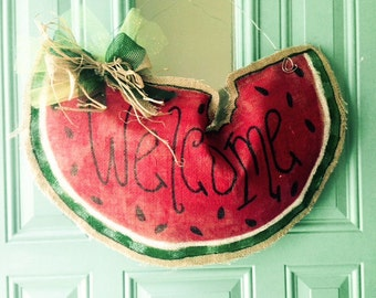 Watermelon Welcome Burlap Door Hanger