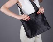 Black seatbelt messenger bag, light inside, crossbody bag, hobo