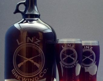 Dad Gift Customized HomeBrew Growler and 2 Glass set with triple circle around crossed guns. granddad,grandpa,Fathers Day,Gifts for Him,
