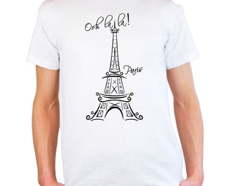 "Mens & Womens T-Shirt with Eiffel Tower Quote ""Ooh La La Paris"" Design / France Sightseeing Art Tee Shirt + Free Random Decal Gift"