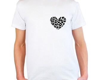 Mens & Womens T-Shirt with Leopard Skin Heart / Heart Shape Shirts / Animal Skin Print Shirt + Free Random Decal Gift