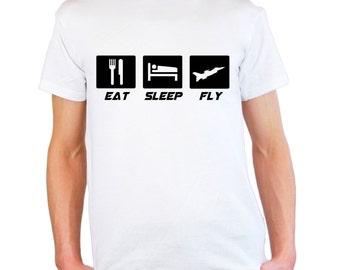 Mens & Womens T-Shirt with Quote Eat Sleep Fly Design / Plane Airplane Inspirational Shirts / Aircraft Airforce Hawx Shirt + Free Decal