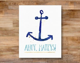 Ahoy, Mateys! - watercolor printable