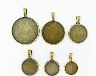 16mm Round Pendant Tray, Bezel Setting, 16mm  Cabochon Tray - Antique Bronze,Antique Silver,Big Bail Hook