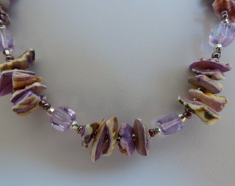 Pearl necklace purple - Made in FRANCE