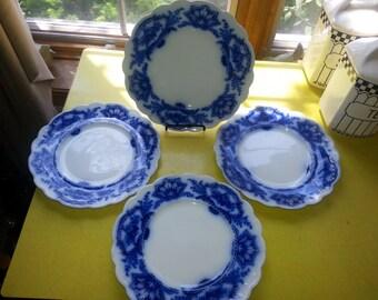 Antique Set of FOUR 1890s W M Grindley Alaska Flow Blue Plates wth Gold Accents BEAUTIFUL!